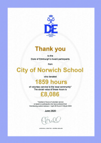 CNS DofE Annual Volunteering Certificate